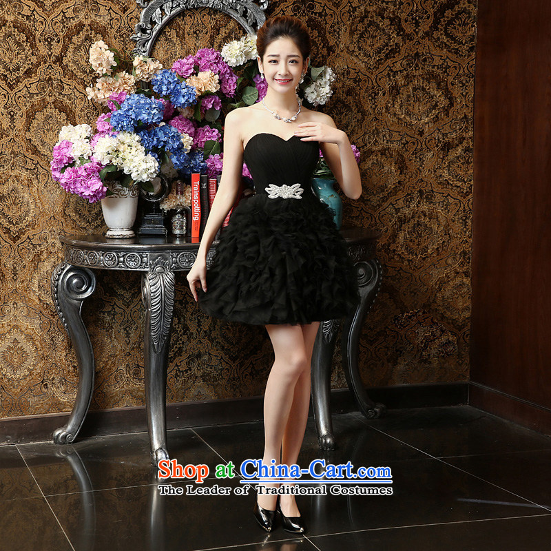 Su Xiang Edge?2015 new graphics thin stylish chest short of wiping the dress bon bon skirt red bows services marriages bridesmaid dress female summer black?M