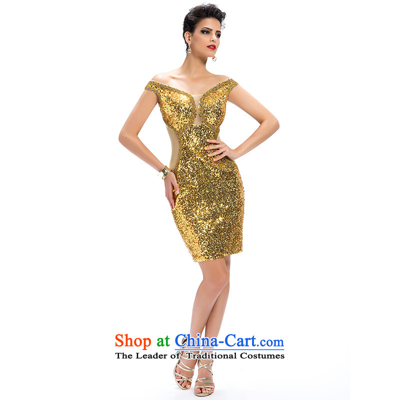 Hei Kaki�2015 New banquet dress continental shoulders evening dresses Love Mary Magdalene was chaired by annual concert chest dress skirt� FT03�GOLDEN�XS