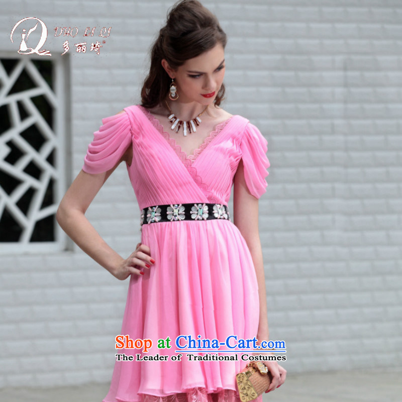 Doris Qi western dress pink dresses bows small dresses small short of foreign trade dress short of Pink dresses XL