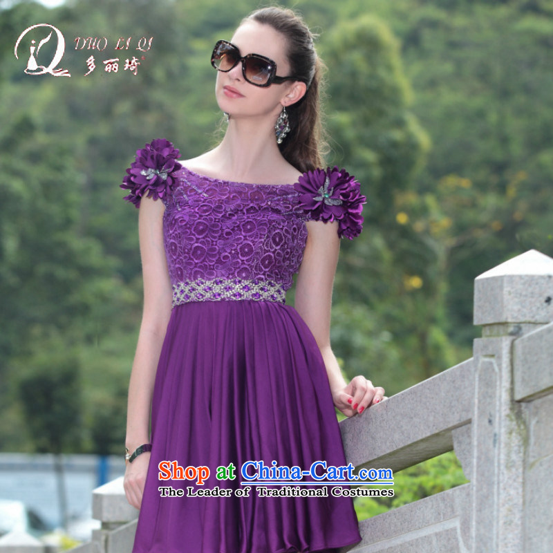 Doris Qi western dress pink dresses bows small dresses small short of foreign trade dress short of Dress Short of Doris Qi evening dresses purple slotted shoulder 100 PURPLE?L