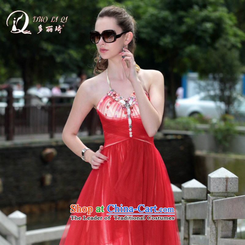 Doris Qi 2014 Doris Qi dress new foreign trade dress western dress red L