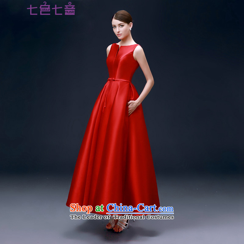 7 7 Color Tone Europe 2015 new marriages bows service, stylish dress small dress dress Sau San?L030?red long pocket (NO) M