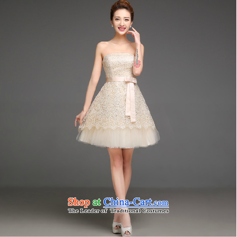 The new service bridesmaid 2015 autumn and winter short, champagne color bridesmaid mission sister skirt small dress skirt video thin bridesmaid dress champagne color XL