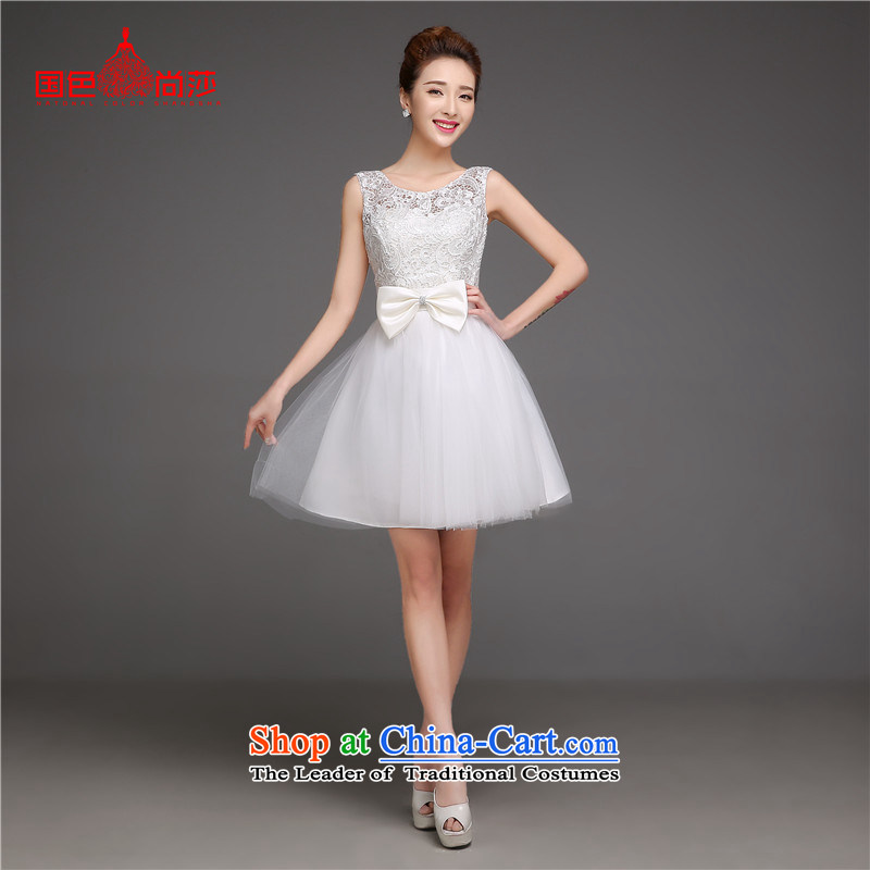 The autumn and winter evening dress short of New 2015 bridesmaid mission dress bridesmaid sister skirt annual service dress bridesmaid dress White XL