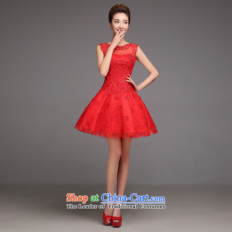 Bridesmaid dress skirt the new 2015 autumn and winter marriages red dress skirt bows service, evening dress red bows services?L