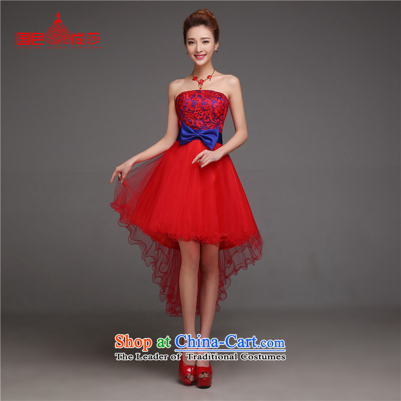 The new summer 2015) bows to Sau San short of marriage, bridal dresses autumn and winter large stylish red dress uniform?XXL toasting champagne red