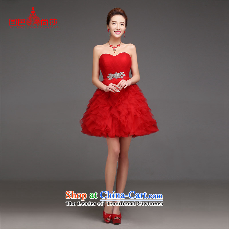 2015 new summer short of Korean brides wedding dresses, extra thick small marriages bows services evening dress RED?M