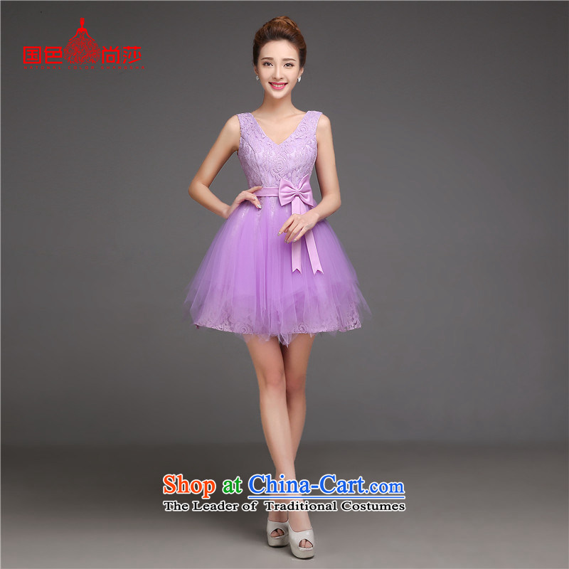 Purple short) bridesmaid Services?2015 new autumn and winter bridesmaid dresses in Sau San sister States shoulder small dress skirt purple shoulders?XXL