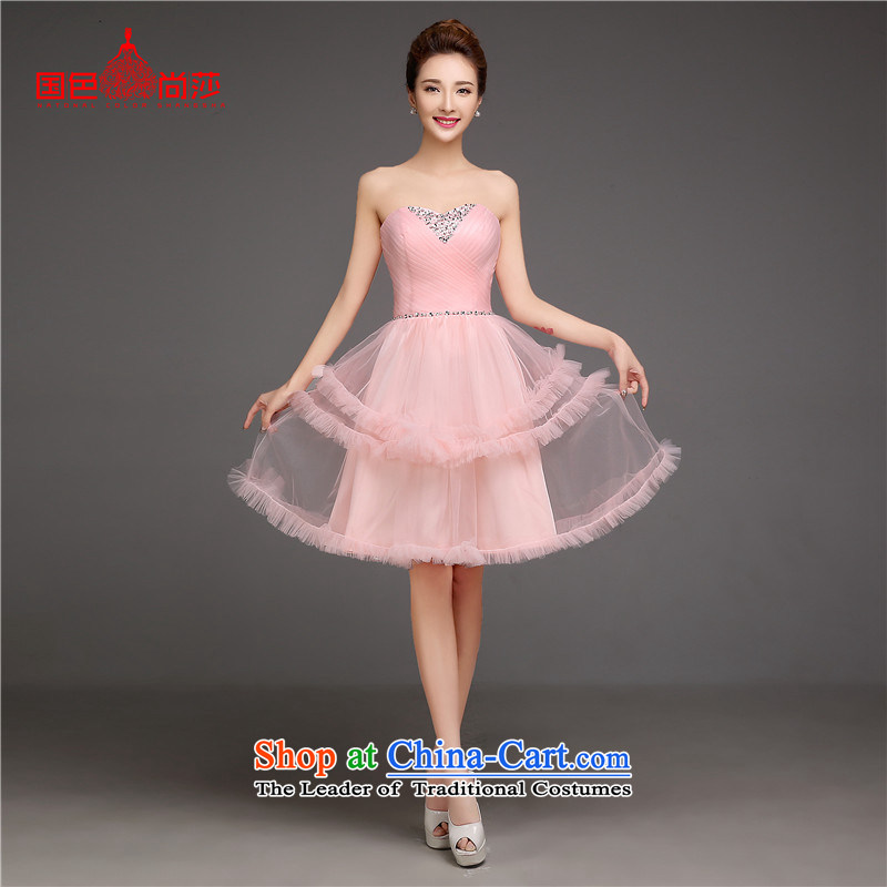 The autumn and winter bride bows services 2015 new short of autumn and winter evening dresses annual dress marriage small dress skirt bridesmaid services Pink?L
