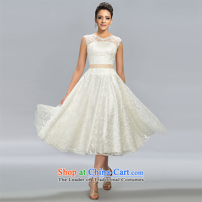 Hei Kaki?2015 New banquet dress continental shoulders evening dress coin belt under the auspices of the annual concert dress skirt? FT05 banquet?beige?S