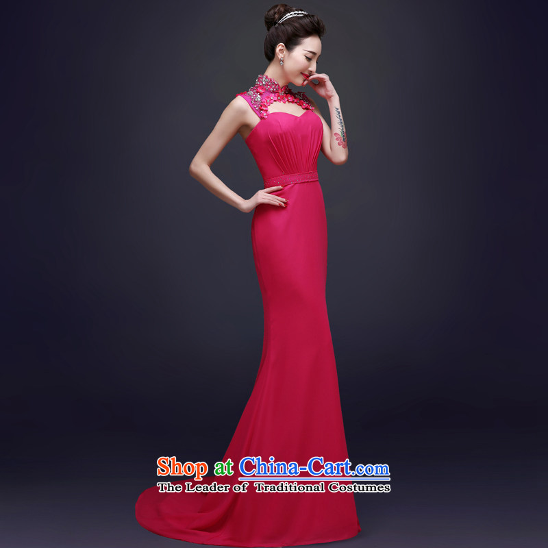 The privilege of serving-leung evening dresses 2015 new bride bows to the summer and fall of moderator banquet wedding dress female Red�2XL