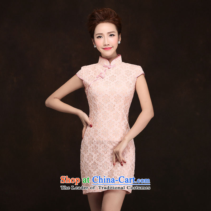 Qing Hua?2015 new spring yarn under the auspices of the bride bridesmaid reception dress pink improved etiquette qipao daily summer dresses meat small pink collar?s