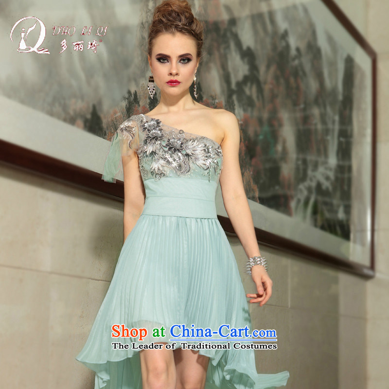 Doris Qi evening dresses bride bows services under the auspices of stage costumes annual reception dinner dress light gray?M