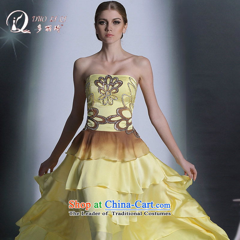 Doris Qi Western crowsfoot evening dress tail banquet dress original single western dress yellow?L