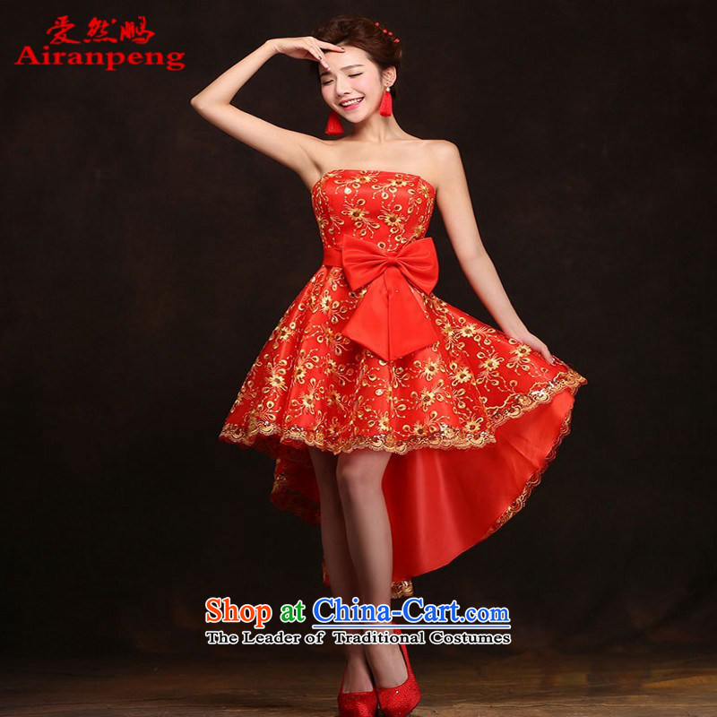 Love So Peng red bride bows services 2015 Spring_Summer New banquet dinner dress short, wedding dresses girls marry bridesmaid services聽do not need to be XXL support returning