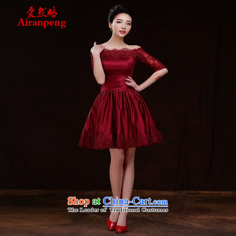 Love So Peng bride bows services 2015 new stylish spring and summer wine red short of marriage banquet dinner dress code female聽XXXL Sau San large need to do not support returning
