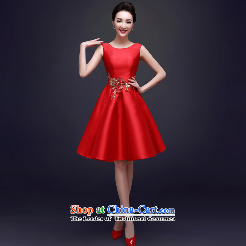The privilege of serving-leung bride services fall 2015 bows qipao summer evening dress short of stylish wedding dresses women small red red M