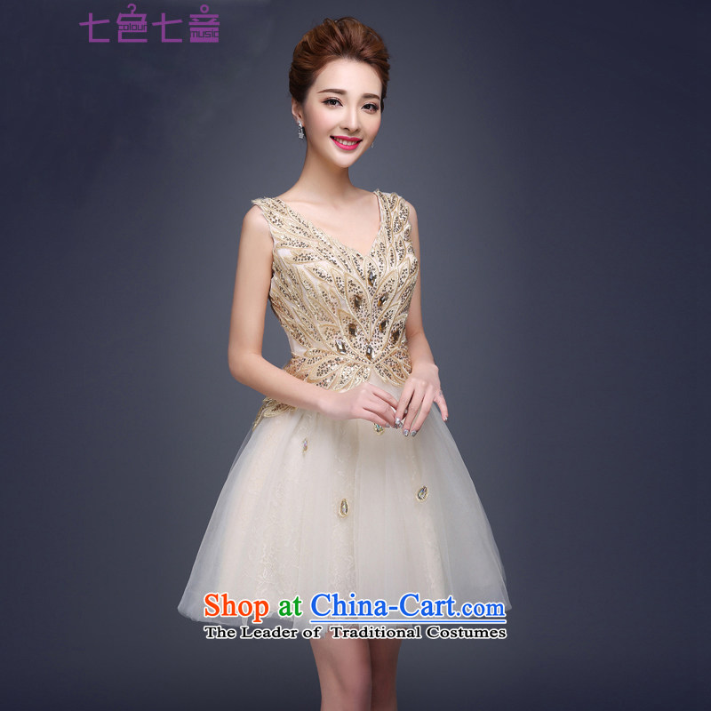 7 Color 7 tone Korean New 2 2015 shoulder stylish bridesmaid small dress spring and summer evening dress short, bridal dresses?L031?champagne color?S