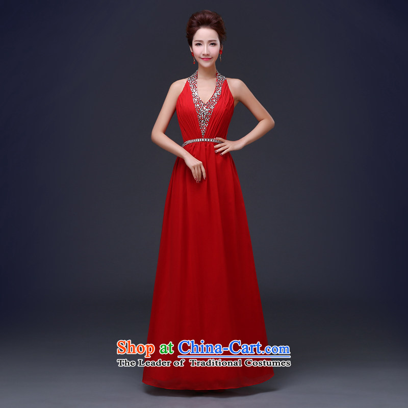 Jie mija bride dress bows services 2015 Spring new stylish V-Neck Purple Tie Banquet Sau San evening dresses long red?L