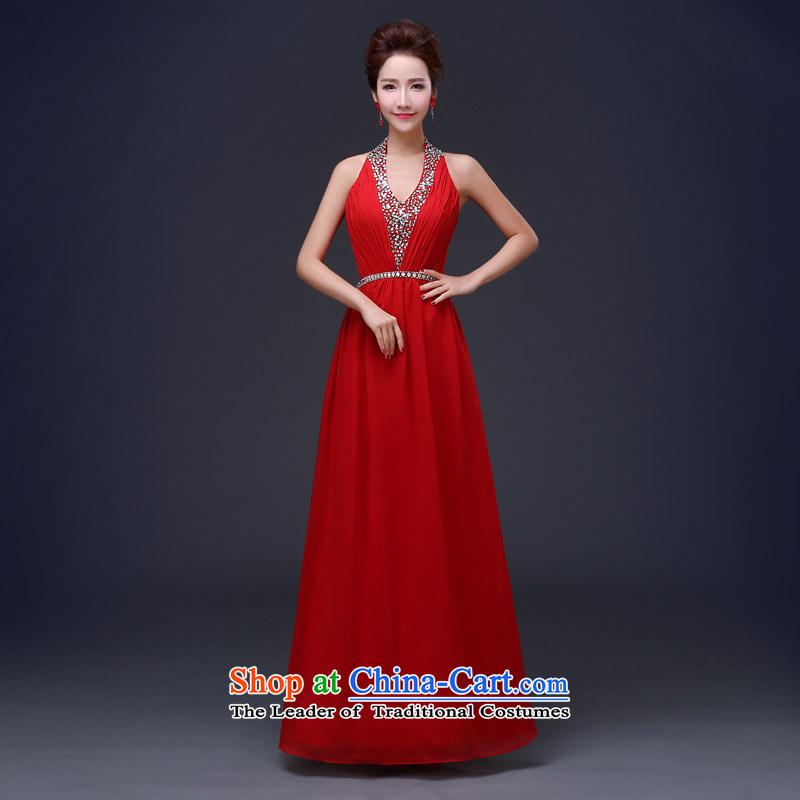 Jie mija bride dress bows services 2015 Spring new stylish V-Neck Purple Tie Banquet Sau San evening dresses long redL