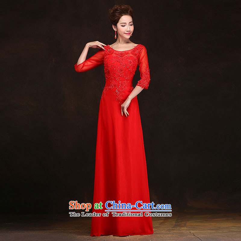 Qing Hua聽2015 Spring, yarn marriages bows service long banquet in evening dress cuff Ms. wedding a field as the size of the Red does not accept return