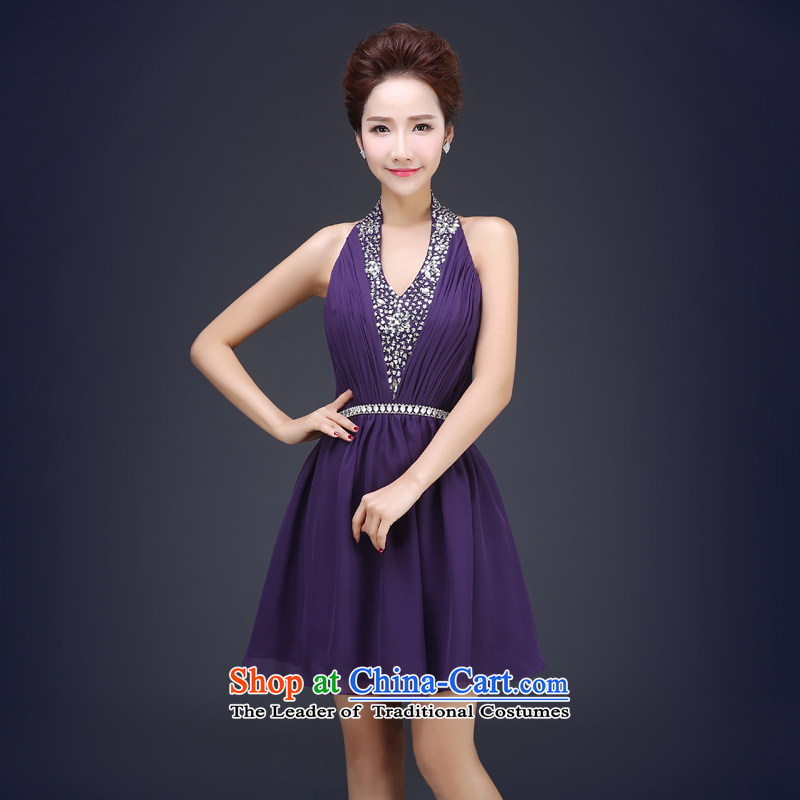 Jie Mija聽2015 new bridesmaid service_ bridesmaid skirt small dress bows service bridal dresses marriage evening dresses spring and summer purple聽M