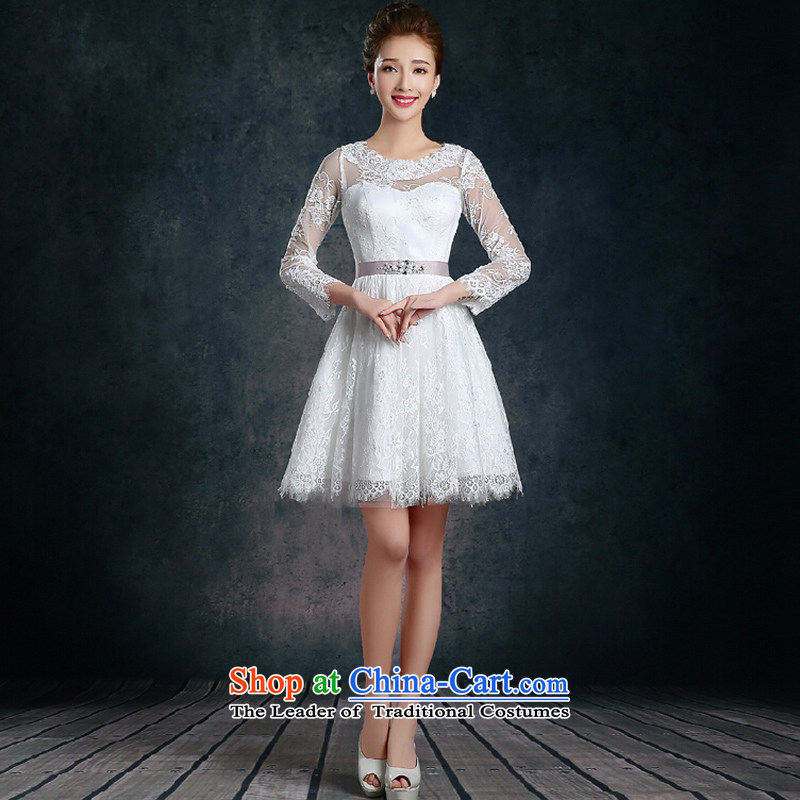 The autumn and winter long-sleeved lace bridesmaid skirt?2015 new white wedding banquet dinner dress short of annual dress skirt white?s