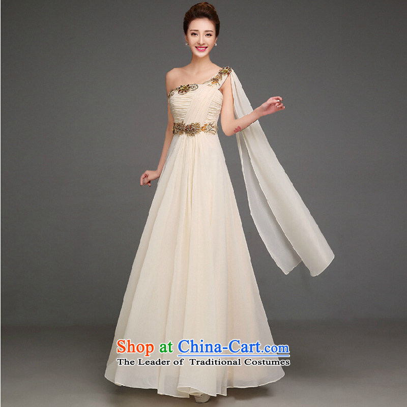 The autumn and winter 2015 annual meeting of the new Korean dress shoulder graphics thin marriage bridesmaid sister skirt short of serving wedding dress champagne color long?XXL
