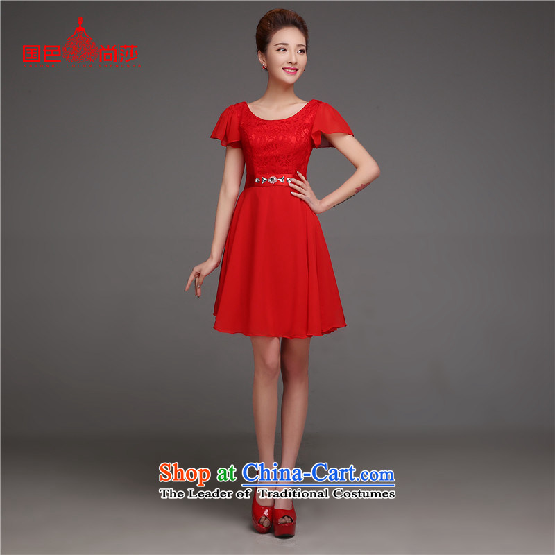 2015 Autumn and Winter, deep V-Neck bride bows Services edition of the new Korean stylish graphics thin princess short-sleeved red dress marriage,?L