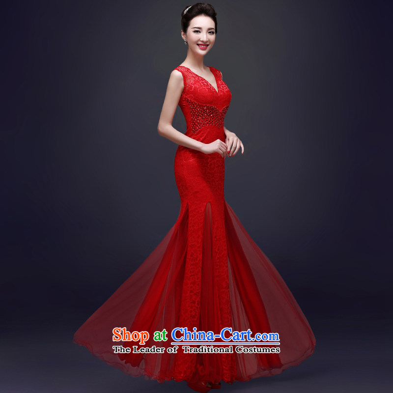 The privilege of serving-leung evening dresses long 2015 new bride bows services fall red wedding dress female qipao Red?2XL