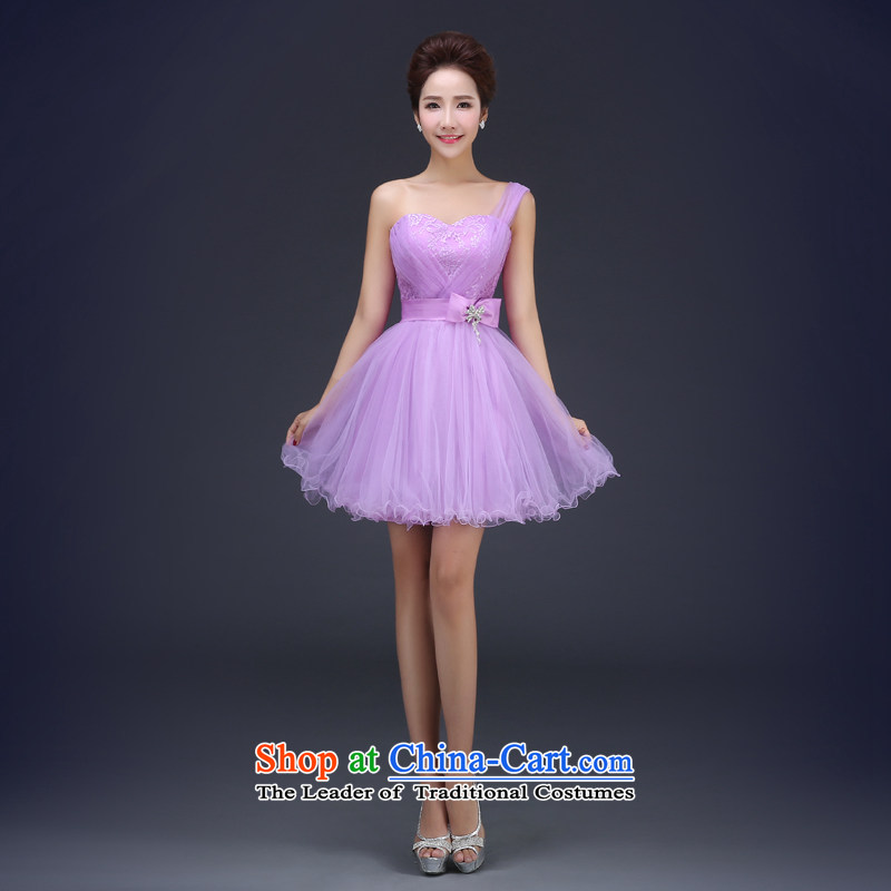Jie Mia?spring and autumn 2015 new bridesmaid dresses bridesmaid small in serving short skirts, purple sister married female summer evening dress shoulder?XL