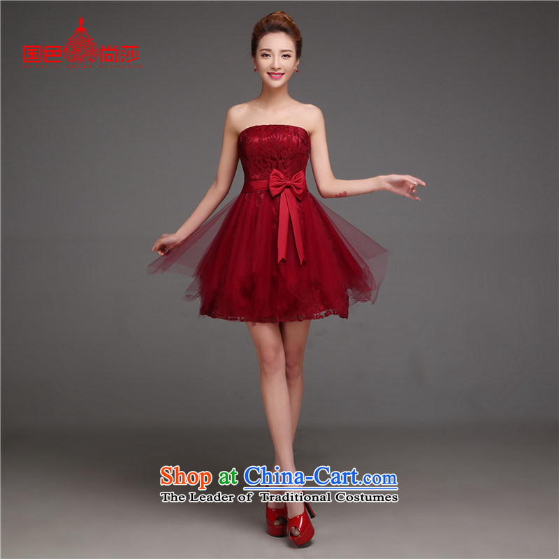 The new 2015 Spring/Summer brides fall and winter clothing and stylish bows video thin short, bridal dresses marriage dress Sau San wine red short,?XL