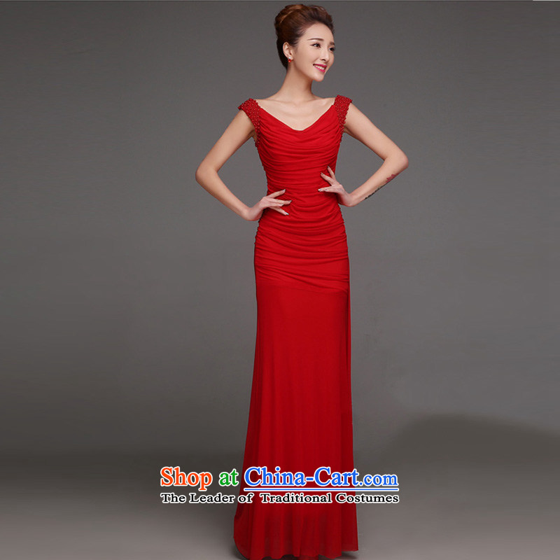 Marriages bows services red long wedding dresses?, 2015 trendy new Sau San evening dress autumn and winter red?XL