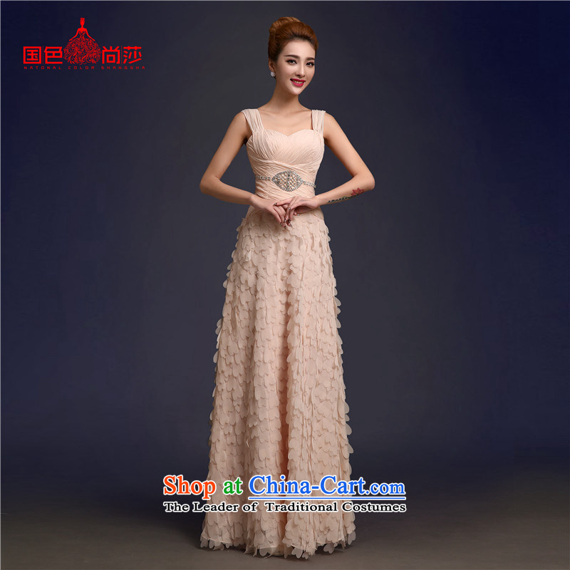 The bride bows to the autumn and winter romantic petals petticoats 2015 New Red Sau San long marriage evening dress pale pink shoulder straps)?s