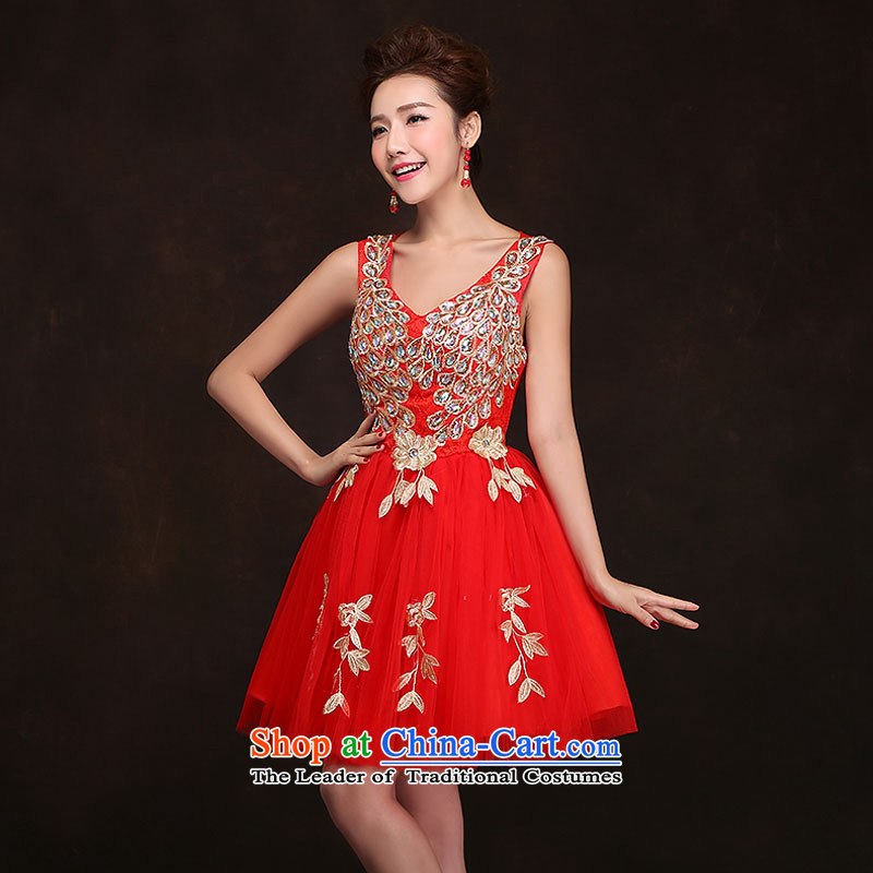 Qing Hua yarn?2015 new stylish bridal dresses short of marriage betrothal evening dresses banquet red bows large serving short skirt red?XL