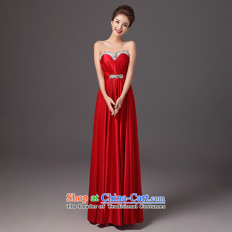 The autumn and winter bride services stylish 2015 new drink, wipe the chest long evening dresses red Sau San wedding dress red?L