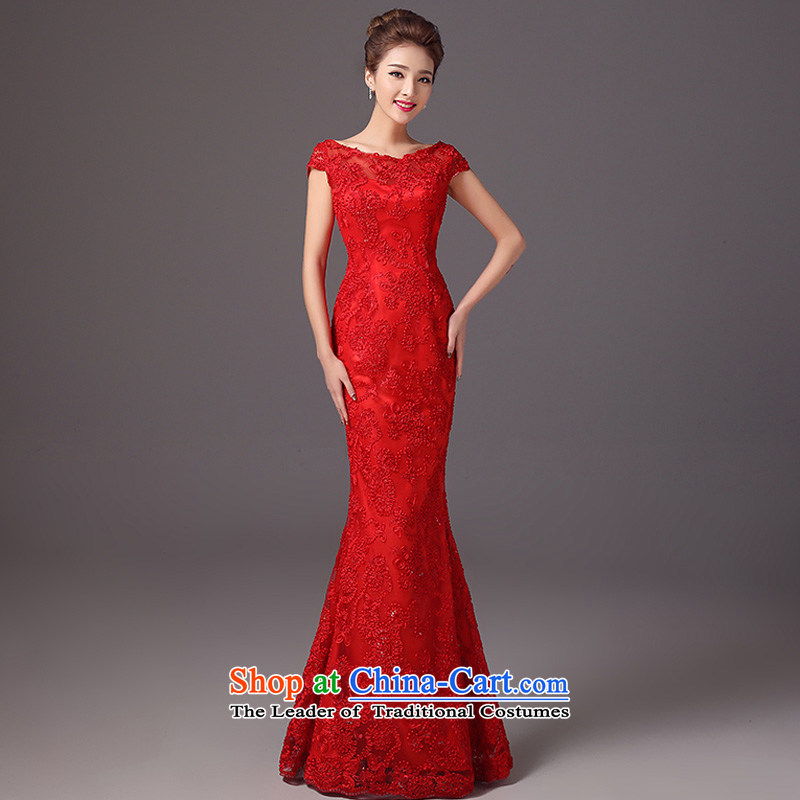 The autumn and winter 2015 new stylish bridal dresses shoulder the word   Marriage bows services crowsfoot long red dress red?L