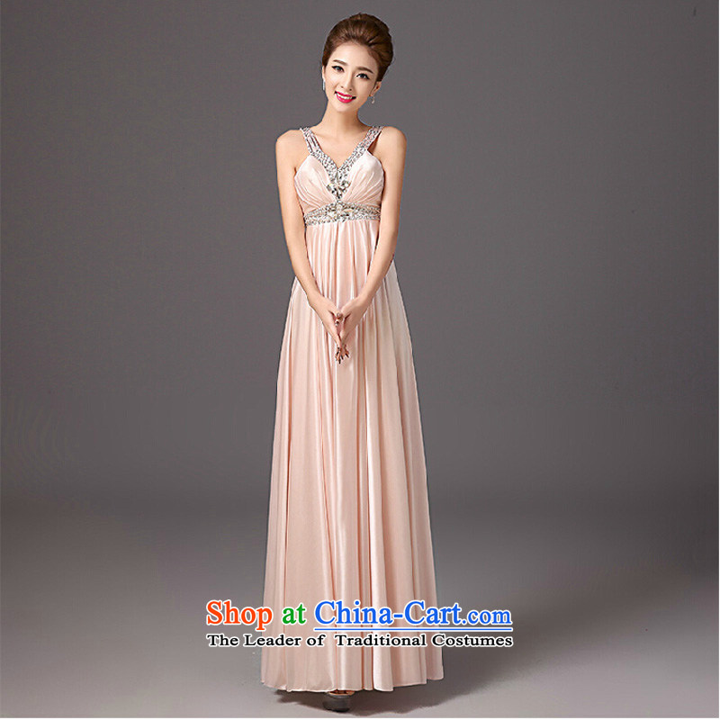 The new 2015 autumn and winter bridesmaid dress long shoulders deep V Annual dress small dress skirt pink dress Sau San?XXL