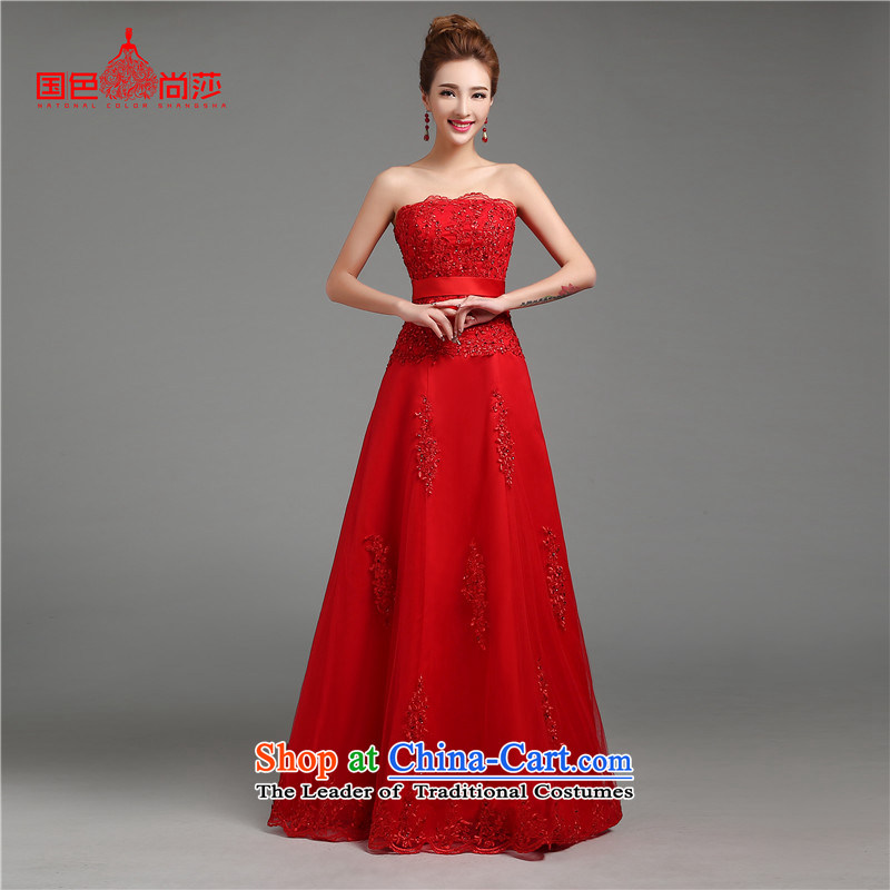 The autumn and winter load bride bows Services?2015 new marriage long evening dresses and stylish with chest dresses Sau San Red?L