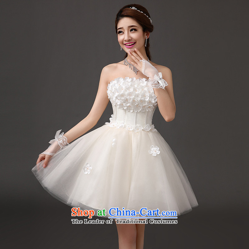 The feelings of Chinese new bride yarn 2015 Marriage short wedding toasting champagne evening dresses bridesmaid short skirt evening dress presided over the annual performance gathering anointed chest dresses champagne color s