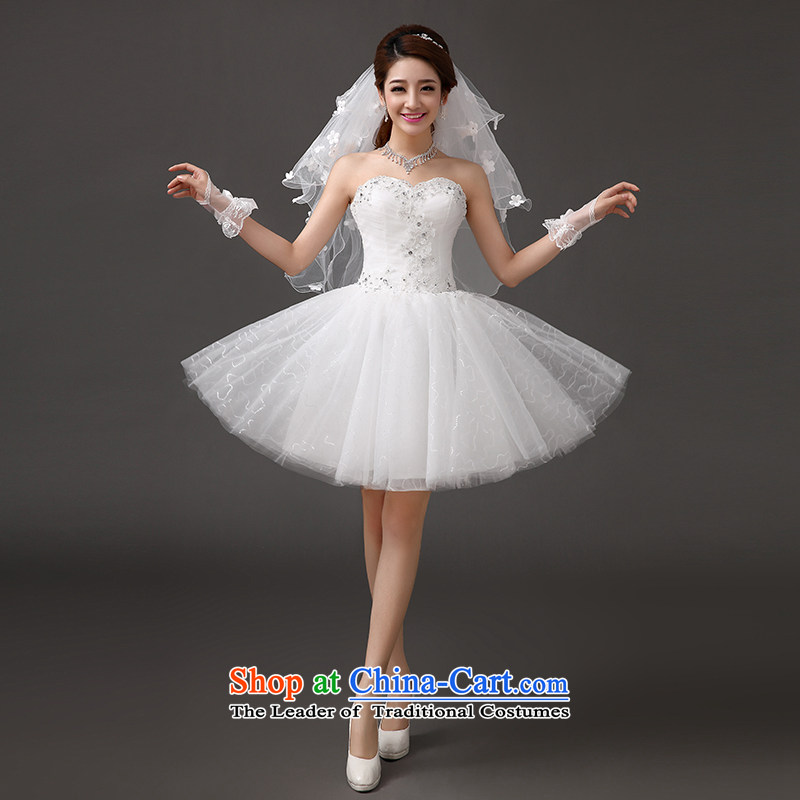 Qing Hua yarn wedding dresses new 2015 short, bon bon skirt wedding Korean Princess lovely irrepressible auspices bridesmaid dress skirt gathering stage performances made white dress size does not accept return