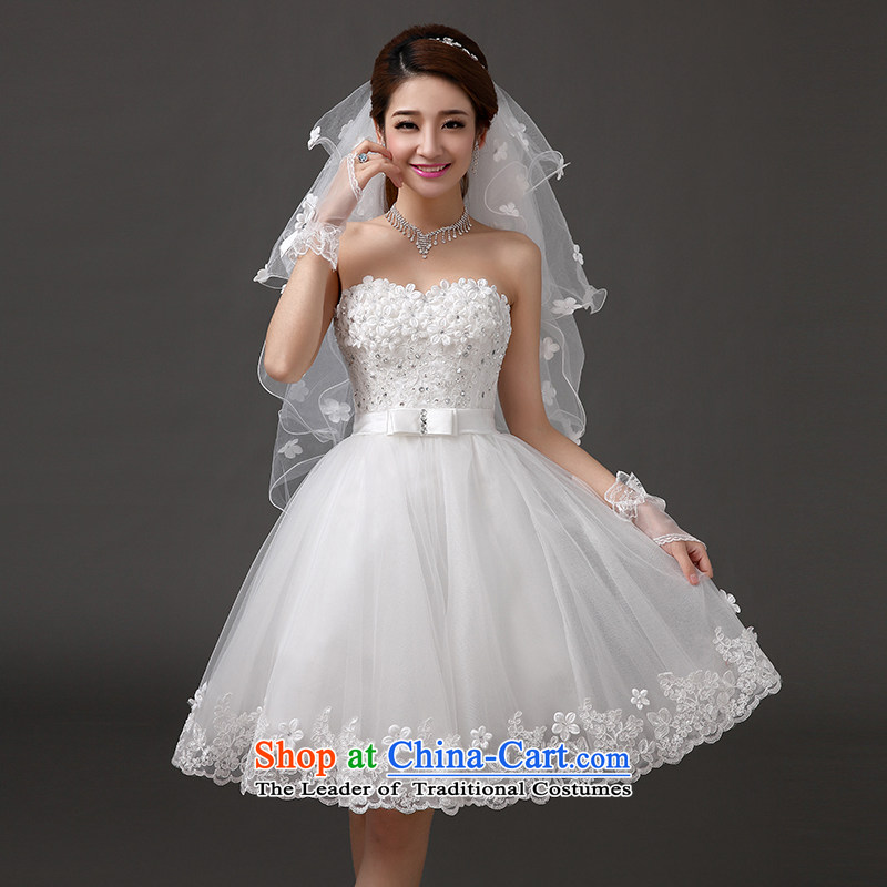 Qing Hua yarn?new Korean 2015 wedding dresses lace bridesmaid service, evening dresses hip little Dress Short Sau San wedding banquet hosted by a white will size does not accept return