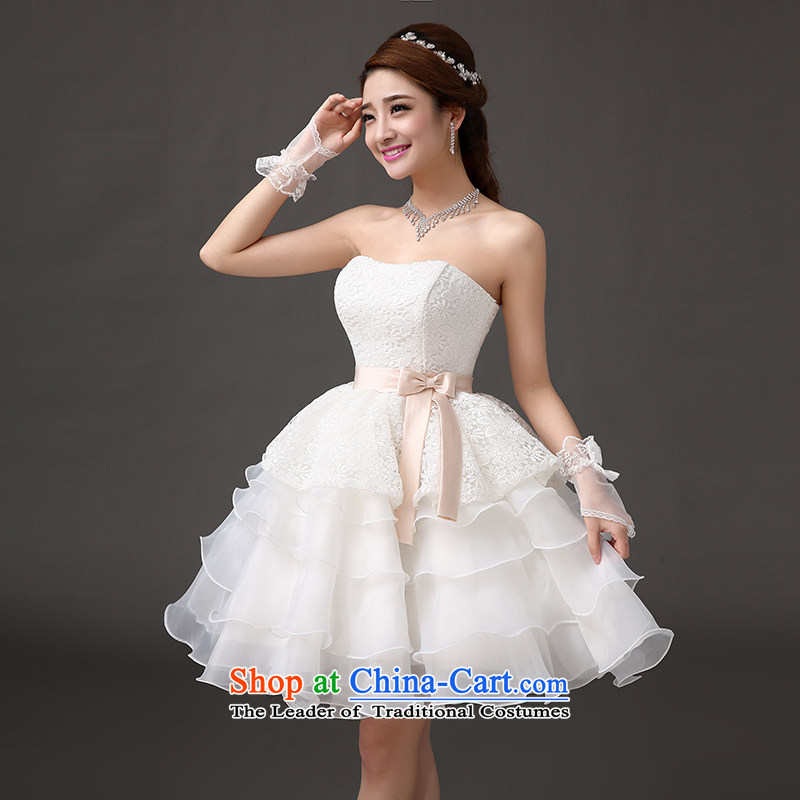 Qing Hua yarn bride short wedding dress banquet presided over a drink small short skirts bridesmaid skirt princess dresses white聽L