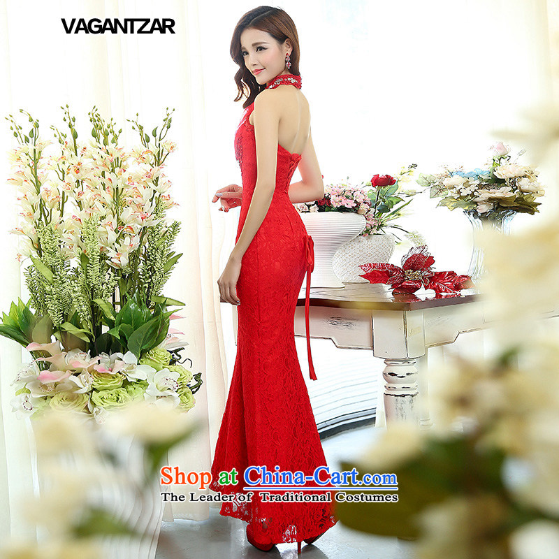 The Korean version of the stylish hang VAGANTZAR also tail wedding lace foutune straps Sau San crowsfoot wedding dresses white?M1513 presided over the?red?L