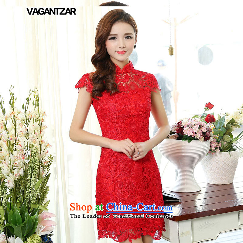 Vagantzar2015 new red lace bridal dresses bows to stylish qipao crowsfoot long gown? 1502 Sau San S