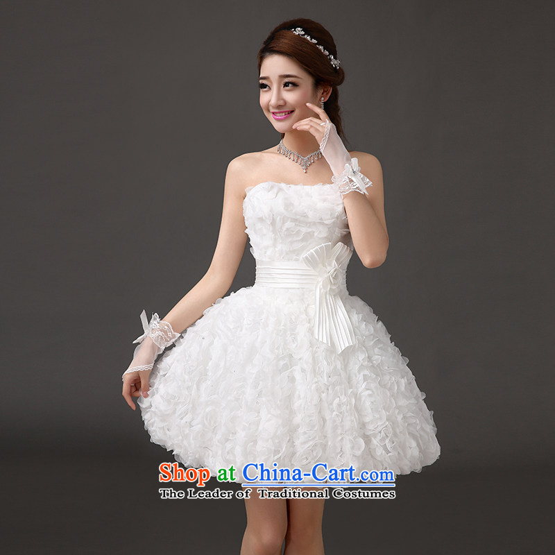 Qing Hua?2015 stylish Sweet Little yarn dress lace flowers dress Princess Bride short skirts lanterns wedding dresses stage performances bridesmaid white made size does not accept return