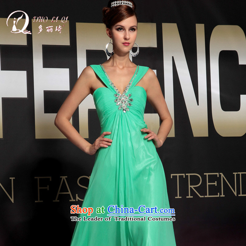 Doris Qi blue shoulders evening banquet evening dress green聽M