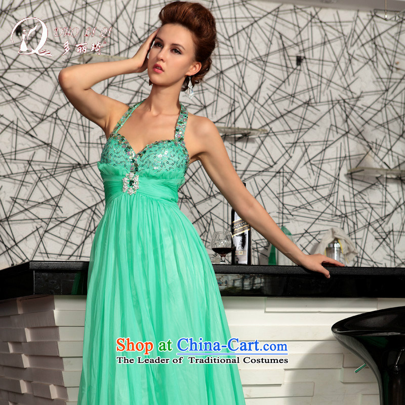 Doris Qi elegant shoulder straps 2015 evening dress sexy bon bon skirt green XXL