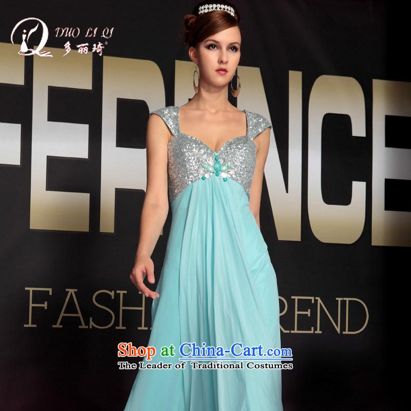 Doris Qi deep V package arm evening dress evening dress Company Annual Reception dress light blue�L
