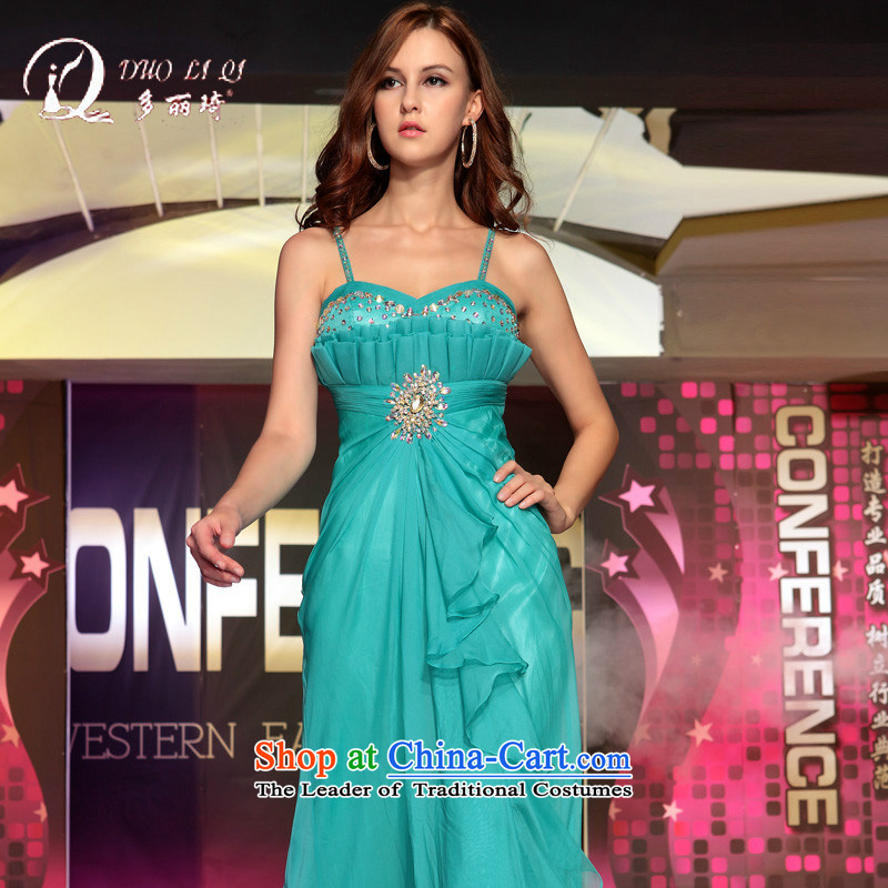Doris Qi 2015 Spring Banquet dance evening dress annual company dress wedding dress light blue XL